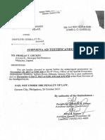 Subpoena Ad Testificandum (Froilan T. Gruezo)