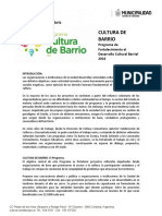 CULTURA de BARRIO. Programa de Fortalecimiento a La Cultura Barrial 2016 y Reglamento