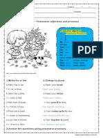 Possessive Adjectives Respostas 7º Ano