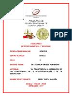La Transferencia y Distribución de Las Competencias en La Descentralización y de La Democracia