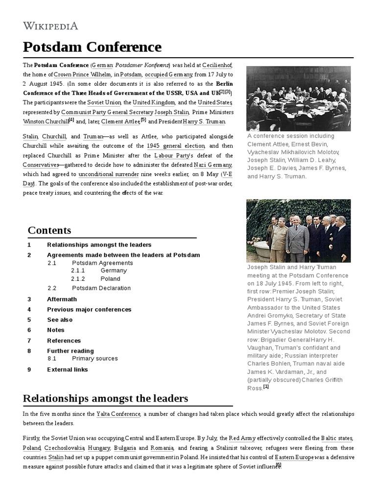 Potsdam Conference | International Relations | International