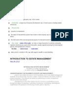 Estate Management -Introduction