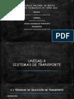 Unidad 4 logistica y cadena de suministro. Sistemas de Transporte. exposicion