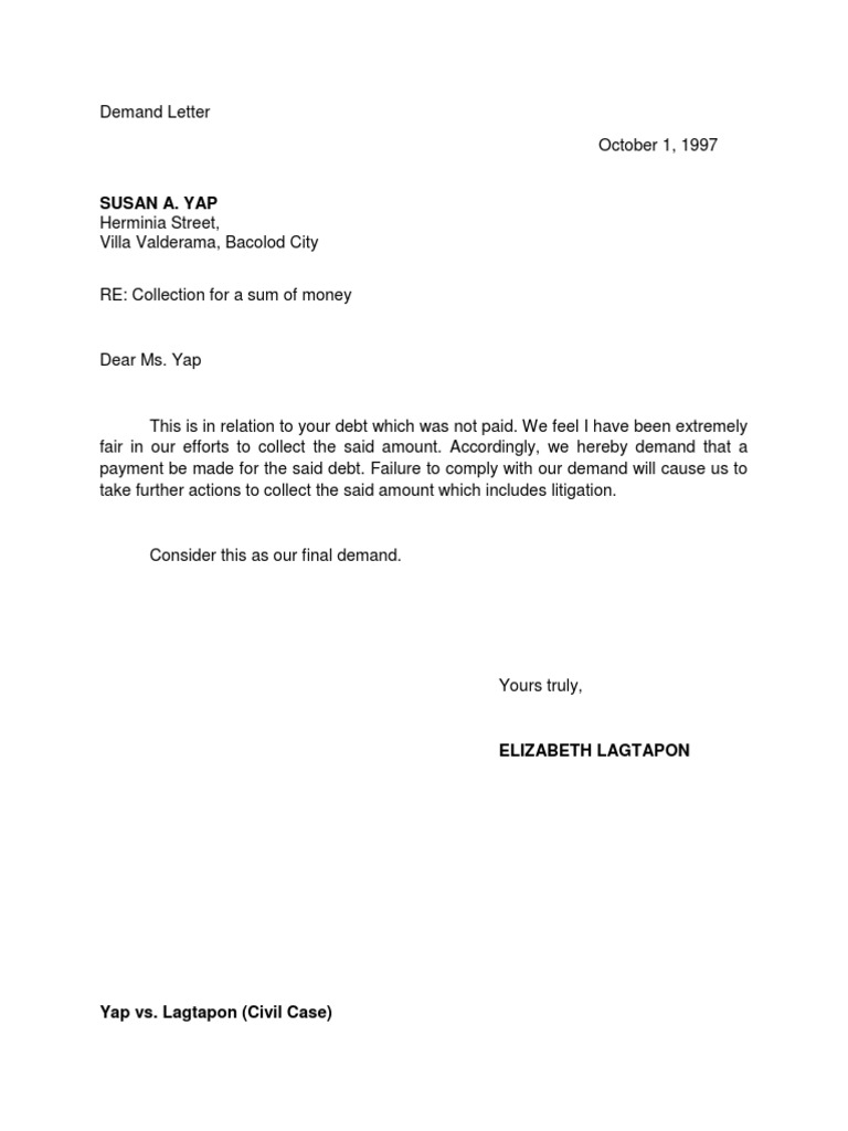 Image Of Letter Of Demand Self Employed Profit And Loss Statement