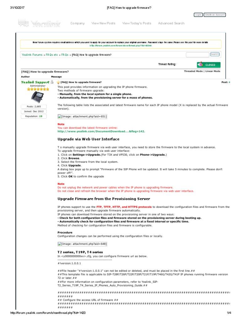 Como actualizar un FIRMWARE | Provisioning | Internet Forum