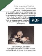 La Evolución Del Vampiro en La Literatura