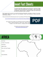 World Continent Fact Sheets
