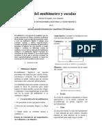 Informe  Multimetro y escalas
