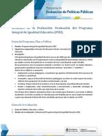 Re Evaluacion Del Programa Integral de Igualdad Educativa Piie Ft