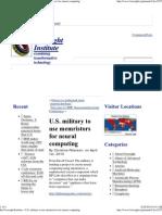 Use of memristors for neural computing  in U.S. military»