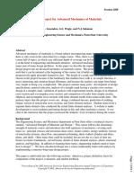 Design Project for Advanced Mechanics of Materials