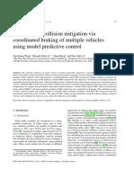 Longitudinal Collision Mitigation via Coordinated Braking of Multiple Vehicles Using Model Predictive Control