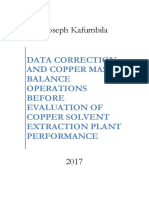 Data Correction and Copper Mass Balance Operations Before Evaluation of Copper Solvent Extraction Plant Performance