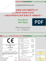Air and Water Permeability of Sandwich Panel Joints
