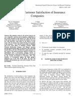 A Study on Customer Satisfaction of Insurance Companies