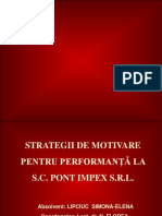 Strategii de Motivare Pentru Performanta La S.C. Pont Impex S.R.L.- 2003