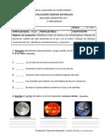 Evaluación Ciencias Naturales - Unidad 4 El Ciclo Diario