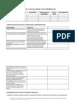 Matriz de Evaluacion de Los Aprendizajes