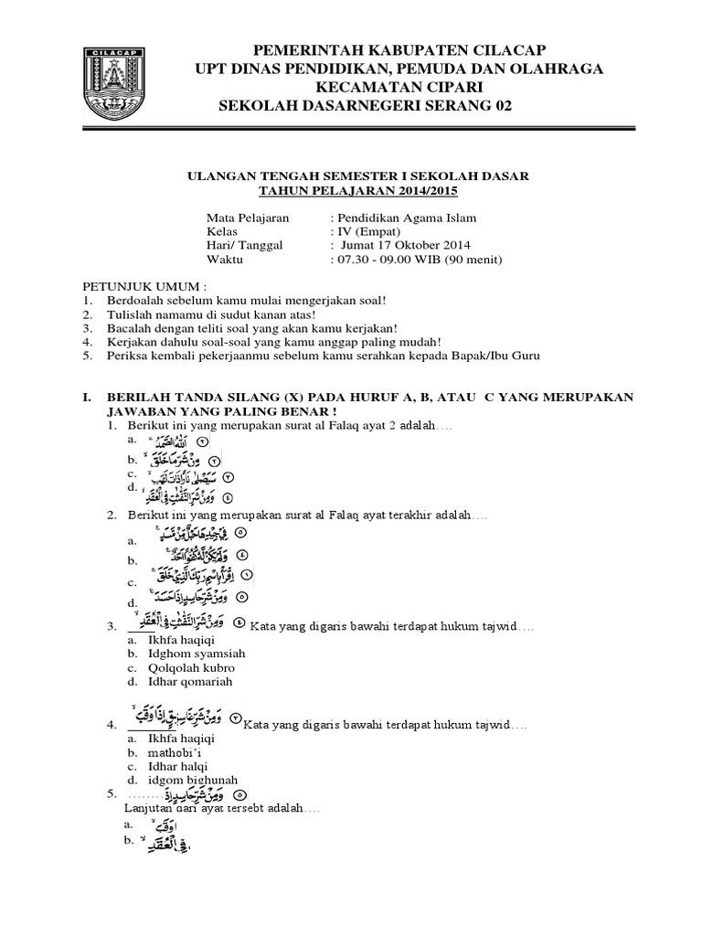 Soal Uts Kelas 4 Mapel Pa Islam