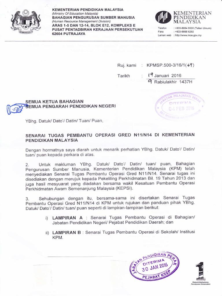 Senarai Tugas Pembantu Operasi Gred N11 N14 Di Kpm 1 Pdf