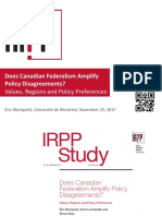 Does Canadian Federalism Amplify Policy Disagreements? Values, Regions and Policy Preferences