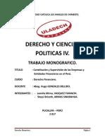 Constitucion y Supervision de Las Empresas y Entidades Finacieras en El Peru