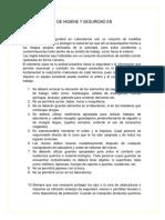 Reglas Basicas de Higiene y Seguridad en Laboratorios