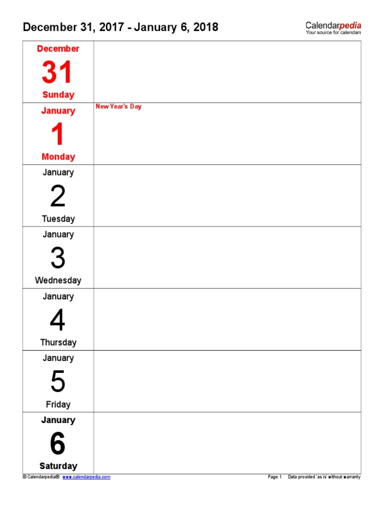 weekly calendar 2018 portrait days vertically
