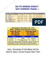 Mumbai to Shirdi Direct Super-fast Express Train