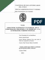 ATRACTIVOS NATURALES Y CULTURALES DE LA COMUNIDAD DE CHILLIPAHUA Y SU INSERCION A LA ACTIVIDAD DEL TURISMO VIVENCIAL