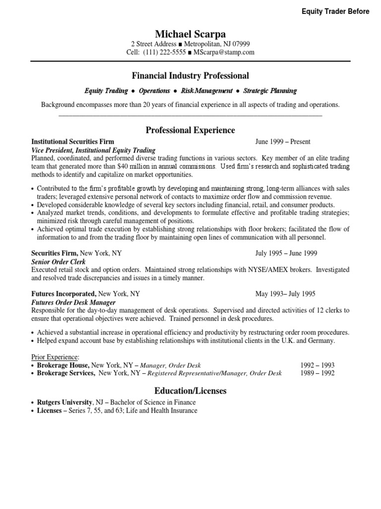 Equity Trader Resume Samples | Velvet Jobs