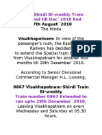 Vizag-Shirdi Bi-weekly Train Extended till Dec`2010 End
