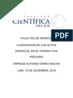 CLASIFICACIÓN DE LOS ACTOS JURÍDICOS, EN EL CÓDIGO CIVIL PERUANO