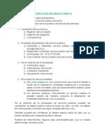 Clasificación Del Servicio Público