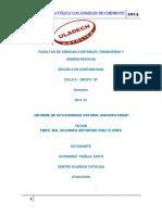 Informe de La Actividad Pastoral Univercitaria