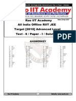 All India Offline RIIT JEE Advanced Test - 6 Paper - I AnswerKey & Solutions (23!04!2017)