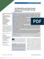 Ten-Step Minimally Invasive Spine Lumbar Decompression and Dural Repair Through Tubular Retractors