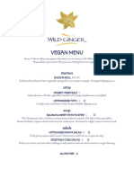 Wild Ginger Vegan Menu