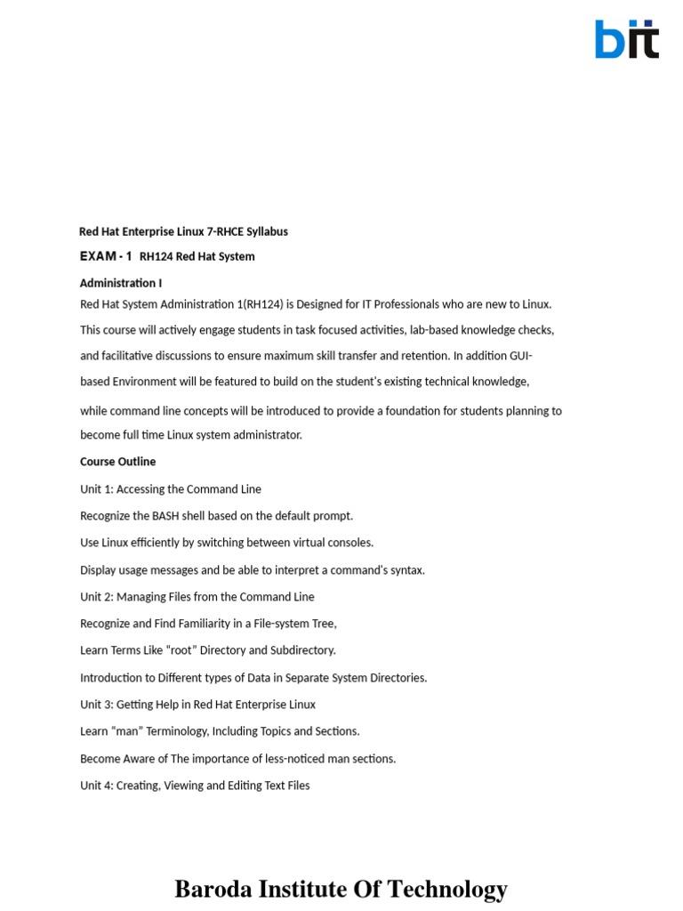 Rh124 guide array rhce exam syllabus command line interface file system rh es scribd fandeluxe Gallery