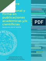 Guía Sobre Filiación Institucional y Firma en Publicaciones Académicas y/o Científicias