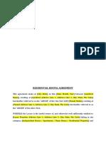 Residential Rental Agreement Format