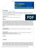 Prosthetic Rehabilitation of a Patient With Orbital Defect Using Silicone Prosthesis _Ravindra S Pawar, Pravin E Raipure, Rahul S Kulkarni, European Journal of Prosthodontics