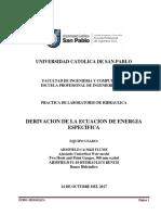 Lab. Energia Especifica Hidraulica 2017-II