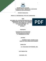 Influencia de Las Estrategias Metodológicas en La Comprensión Lectora de Los Estudiantes de Educación Básica Media de La Escuela Luis Pauta Rodriguez