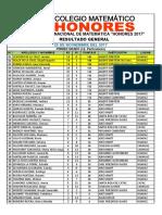 Particulares Olimpiada Matemática - Honores 2017