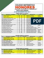 Estatales Olimpiada Matemática - Honores 2017