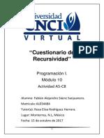 Programacion I Cuestionario de Recursividad