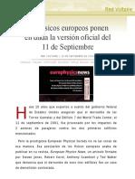Los físicos europeos ponen en duda la versión oficial del 11 de Septiembre