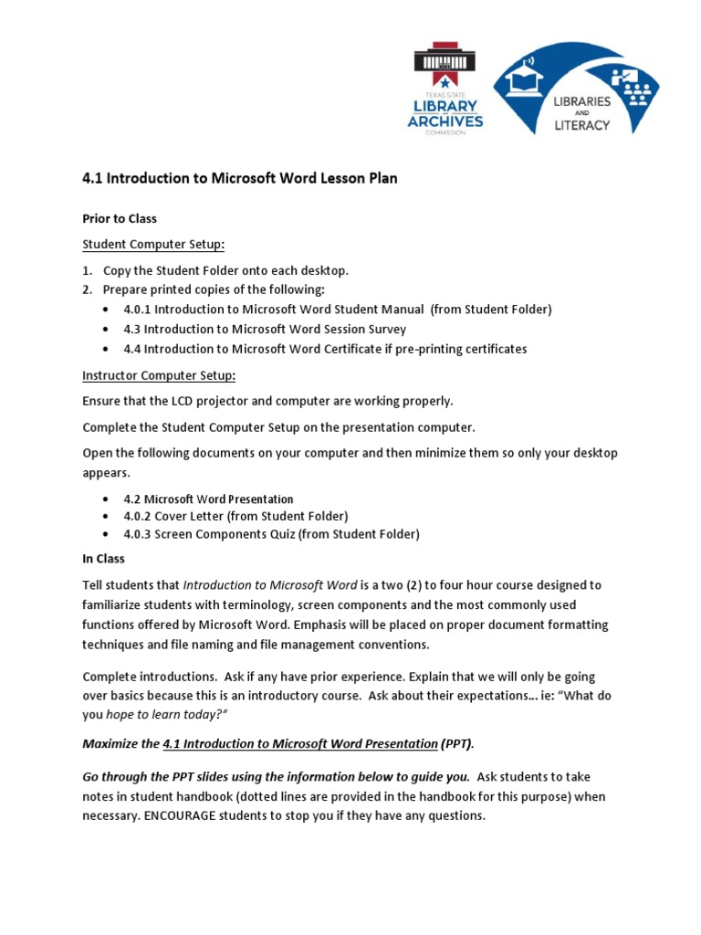 46fb729208aed 4-1 Introduction to Microsoft Word Lesson Plan