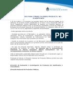 Instructivo Consulta Producto No Clasificado